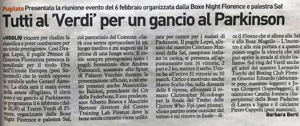 Su Italia7 parlano della notte dei pugili al Teatro Verdi - Training Lab Firenze