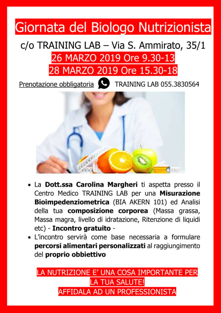 26-28/3/19: Giornata del Biologo Nutrizionista al Training Lab Firenze